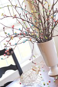 Crafty Sisters: Jelly Bean Easter Tree. Simply hot glue jelly beans to branches- so easy! #easter #easterdecorations #eggtree