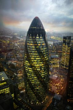 """The Gherkin"", 30 St Mary Axe Building in London, U.K. (Architects: Norman Foster & Ken Shuttleworth)."