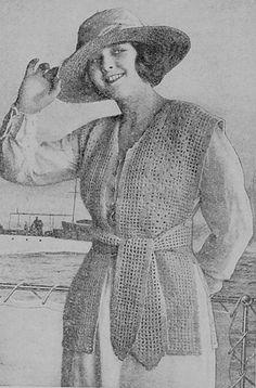 Vintage Crochet Women's Vest Pattern 1919 by DollBabiesReborns, $3.00