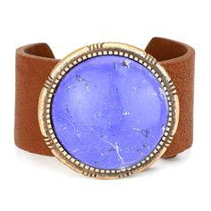 Semi-Precious Howlite Leather Adjustable Bracelet