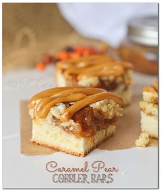 Caramel Pear Cobbler Bars on MyRecipeMagic.com