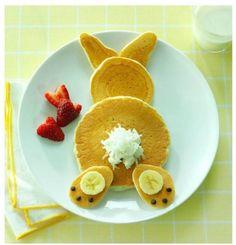 Bunny pancakes---Easter morning breakfast! My kids would love this