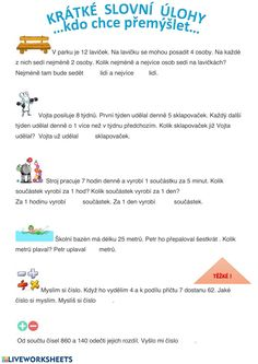 Slovní úlohy online worksheet for 1.stupeň. You can do the exercises online or download the worksheet as pdf. School Subjects, Your Teacher, Web Browser, Google Classroom, You Can Do, Colorful Backgrounds, Worksheets, Exercises, Pdf
