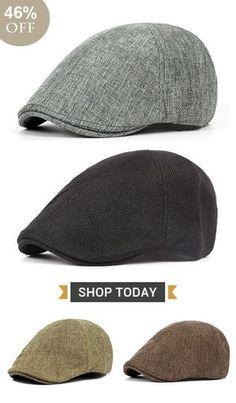 d9f7b5fb6573e Men Retro England Style Cotton Hemp Solid Sweat Breathable Leisure Beret Cap  UV Protection Sun Hat