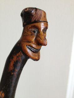 Vintage Carved Head Elf Fairy Leprechaun Irish Blackthorn Walking Stick