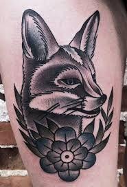 traditional fox tattoo - mike adams