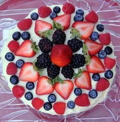Celebrate the 4th of July with this Chantilly Fruit Cake Recipes featuring fresh strawberries, blueberries, blackberries, and raspberries.