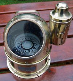 ANTIQUE BINNACLE SHIP COMPASS WITH KEROSENE LAMP Vintage Compass, Adventure Of The Seas, Kerosene Lamp, Nautical Theme, Cooking Timer, Ship, Living Room, Antiques, Instruments