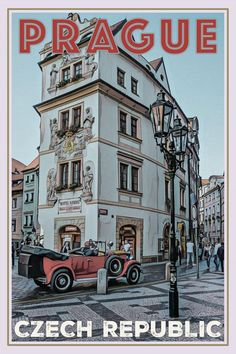 retro poster old car prague czech republic Old Poster, Budget Planer, Vintage Hawaii, Room Posters, Vintage Travel Posters, Funny Art, Aesthetic Pictures, Vintage Art, Poster Prints