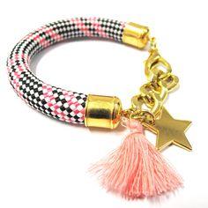 Bracelet corde Blanc/Noir/Fuchsia étoile