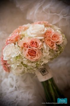 Bridal Bouquet of Peach Roses and White Hydrangea - The French Bouquet - Destiny Photography Hydrangea Bridesmaid Bouquet, Peach Bouquet, Rose Wedding Bouquet, Bride Bouquets, Floral Bouquets, Lavender Bouquet, Carnation Wedding, Carnation Bouquet, Carnations