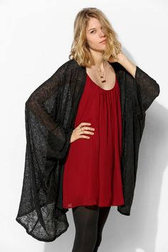 Tela Textured Poncho Cardigan - Urban Outfitters