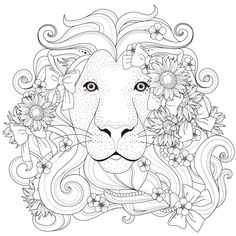 Lion Coloring Pages, Printable Adult Coloring Pages, Coloring Books, Tattoo Painting, Illustrator, Black And White Illustration, Colorful Pictures, Line Drawing, Book Design