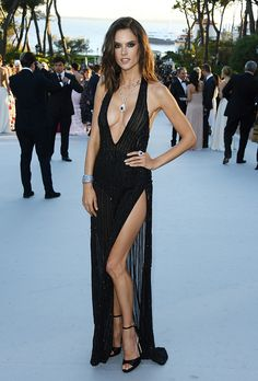 Formal Dress Inspiration | What All the Celebs Wore to the 2016 amfAR Gala | Alessandra Ambrosio in a low cut black gown with a high slit
