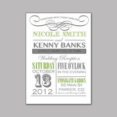 Elegant Wedding Invitation Grey and green, or Grey and Pink on Etsy
