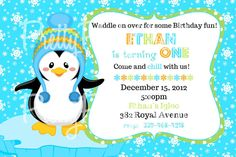 Boy PENGUIN invitation  with or without by PrettyPartyCreations, $11.00
