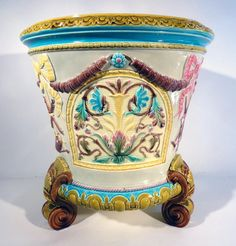 Wedgwood majolica jardinière in the Lowell pattern.