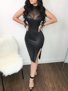 Sheer Mesh Patchwork PU Midi Dress dresses to wear to a wedding dresses short dress outfit dress dress dresses modest dresses Sexy Outfits, Dress Outfits, Fashion Outfits, Club Outfits, Fashion Clothes, Summer Outfits, Trend Fashion, Look Fashion, Catwalk Fashion