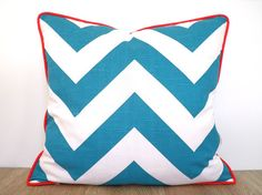 teal chevron pillow cover in 20x20 turquoise and red christmas modern teal pillow sham coastal decor geometric sofa cushion red cording