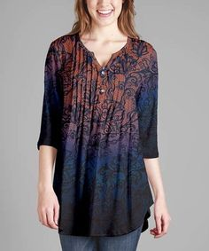 Look what I found on #zulily! Blue & Brown Abstract Tunic - Plus #zulilyfinds