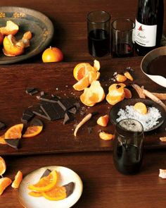 Chocolate Fondue with Clementines, Candied Grapefruit Peel, and Glaceed Orange Slices Recipe