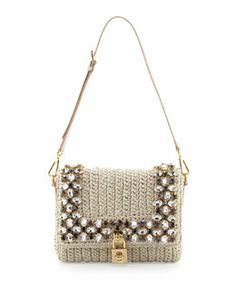 V1T7A Dolce & Gabbana Dolce Crystal Raffia Shoulder Bag, Beige