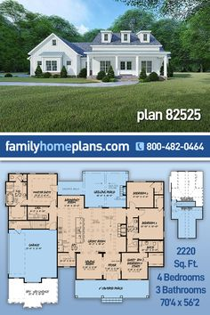 This modern farmhouse plan blends traditional farmhouse with modern elements to create the perfect home desigh. Curb appeal and was obviously an absolute necessity with this farmhouse. The simplistic use of siding with a brick skirt allows the structure of this home to truly shine. A welcoming front porch is complimented by charming dormers and large windows all work together to give you this beautiful design. 432 sq fto of optional bonus space is available above the garage. Cottage Style House Plans, Bungalow House Plans, House Floor Plans, Craftsman Farmhouse, Modern Farmhouse Plans, Modern Traditional, Traditional House, Dream Home Design, House Design
