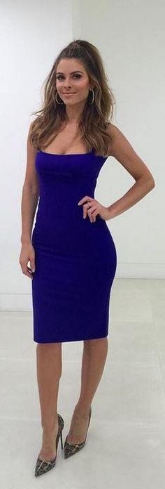 Who made Maria Menounos' blue dress and animal print pumps?