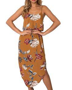 Mikilon Womens Deep V-Neck Spaghetti Strap Casual Boho Floral Print Maxi Split Dress