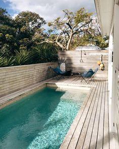 Minimalist small pool design with beautiful garden inside 52 Small Pool Design, Spa Design, Design Hotel, Swimming Pool Designs, Swimming Pools, Gray Deck, Boy Paradise, Small Backyard With Pool, Backyard Patio