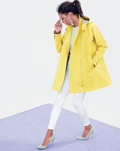 J.Crew women's swing trench coat, Elsie pumps, Collection cashmere sweater, and lookout high rise crop jean.