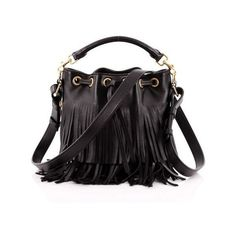 Pre-Owned Fringe Emmanuelle Bucket Bag Leather Small (€1.020) ❤ liked on Polyvore featuring bags, handbags, shoulder bags, black, leather handbags, long shoulder bags, genuine leather handbags, drawstring bucket bag and genuine leather shoulder bag