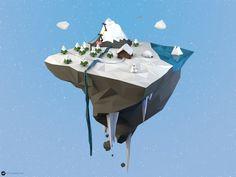 Low Poly Island Winter by maty241 on deviantART