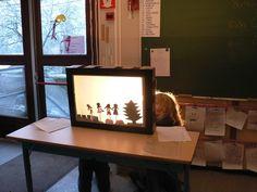 thema licht en donker: schaduwtheaters Creative Teaching, Creative Kids, Waldorf Kindergarten, Montessori Books, Nursery School, Shadow Puppets, Reggio Emilia, Light Reflection, Conte