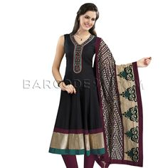 $98 Black cotton anarkali suit is finished with antique gold border.It comes with maroon cotton churidar and beige printed cotton dupatta.Sleeves can be added on request.Please email us on info@barcode91.com with your order no and the sleeve length.Slight variation is possible in color.
