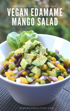 This high-protein edamame mango salad with basil vinaigrette is full of flavour, easy to make, vegan, gluten-free and can be oil-free. Perfect for summer BBQ's and potlucks but delicious year-round too. Real Food Recipes, Vegan Recipes, Cooking Recipes, Kid Recipes, Mango Recipes, Cooking Ideas, Mango Salat, Edamame Salad, Quick Vegetarian Meals