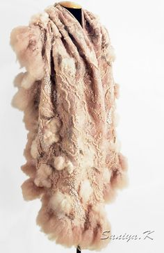 Felted shawl Helga beige by SaniyaK on Etsy