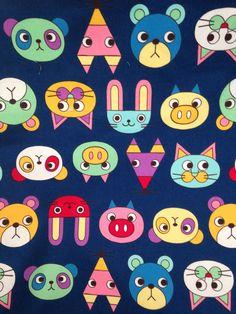 #cuteanimals #printedcanvas #panda #pig #fox #rabbit #cartoon #color #navy Printed Canvas from Mill End Store   www.millendstore.com