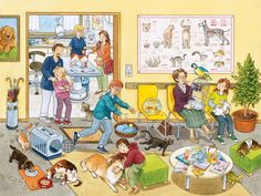 At the Vet's Office XXL Piece Jigsaw Puzzle by Ravensburger) Writing Pictures, Picture Writing Prompts, School Pictures, Speech Language Pathology, Speech And Language, Teaching Spanish, Teaching English, Picture Comprehension, Hidden Pictures