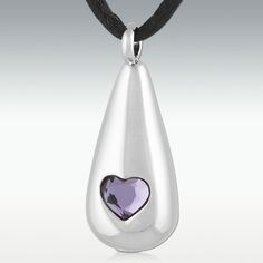 Loving Tear Amethyst Stainless Steel Cremation Jewelry $23