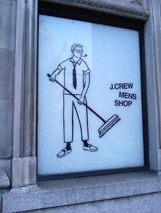 """The new Madison Avenue J.Crew Mens Shop is already open, but these pictures of the previous """"under construction"""" windows still make me laugh out loud. What a clever idea to make people…"""