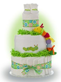 Our Lil' Caterpillar Diaper Cake reminds us that babies grow and change just like the caterpillar. This diaper cake is a perfect gift selection for the gender neutral gift. Only $67.00