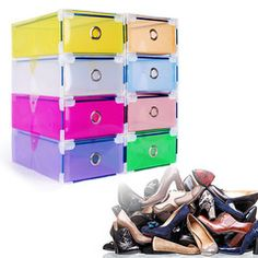 One connectable shoe box.Great for organizing and categorizing your foot wear ,keeps your foot wear clean and dust free.
