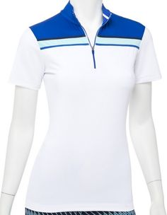 Order your golf apparel online from lorisgolfshoppe.com. Check this out --> OUT OF THE BLUE (White Multi) EP New York Ladies & Plus Size Short Sleeve Zip Mock Golf Shirt