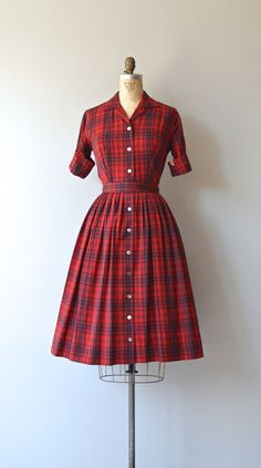 Vintage 1950s Pendleton red plaid gabardine wool shirtwaist dress