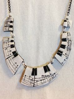 Polymer clay, Music Necklace, Chopin Notturno op. 9 n 2