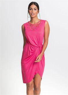Dzsörzé ruha csipkével és csomós részlettel • pink • bonprix áruház