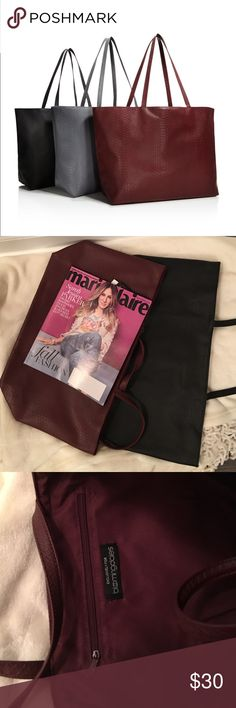 Shopping tote Brand new. I have two: one in black and one in burgundy. It's about 19*11 inches. Brand new on packaging. Faux leather. 🙅🏻no trades🚫 Bloomingdale's Bags Totes