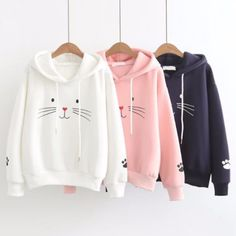 2019 Winter Autumn Women Plus Velvet Warm Plus Size Cute Cat Print Pullover Hoodie Long Sleeve Casual Loose Hooded Tops Long Hoodie, Long Sleeve Sweater, Long Sleeve Shirts, Cute Hoodie, Pull Sweat, Cute Kittens, Tumblr Outfits, Mode Hijab, Hooded Sweater