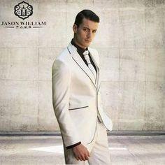 (Jacket+Pants+Tie+Vest) 2017 New Arrival Groom Tuxedo Ivory Notch Lapel